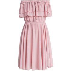 Chicwish Endless Off-shoulder Frilling Dress in Pastel Pink (365 MAD) ❤ liked on Polyvore featuring dresses, vestidos, pink, pink chiffon dress, off-the-shoulder ruffle dresses, off shoulder dress, pink ruffle dress and pink off the shoulder dress
