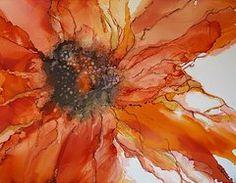 Alcohol Ink Art - Flaming  by Lynn Callahan