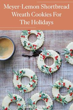 These wreath cookies are almost too pretty to eat this holiday season! Follow our quick holiday cookie recipe for these festive wreath-shaped shortbread cookies are infused with Meyer lemon and adorned with sugared rosemary and thyme. #marthastewartliving #holidaydessert #easydessertrecipe #easyrecipes Holiday Cookie Recipes, Holiday Desserts, Holiday Cookies, Key Decorations, Thing 1, Shortbread Cookies, Christmas Inspiration, Favorite Holiday, Drink Recipes