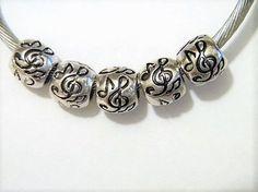 Music Note Musical Song Family Friends European Charm Bead Set 5pc Lot #Handmade #European