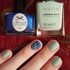 """#nailart #avon #aquaverve #ciate #birthdayblue #stripingtape #shortnails #nailwearpro"""