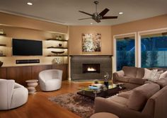 Corner Fireplace With TV Shelving Adjacent Contemporary Family Room By Laura Burton Interiors