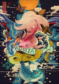 中国人アーティストが描く浮世絵調イラストがビビットでダイナミック - DNA