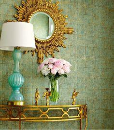 Demilune, colour, mirror, lamp. LOVE.
