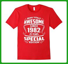 Mens Awesome Since 1982 Tshirt 35th Birthday 35 yr olds Tee Shirt 3XL Red - Birthday shirts (*Amazon Partner-Link)