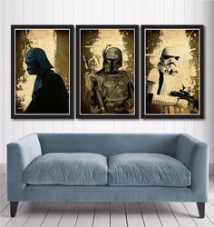 Star Wars Poster Set  Darth Vader Boba Fett & by MINIMALISTPRINTS, $35.00 Decoration Star Wars, Star Wars Decor, Star Wars Art, Boba Fett, Star Wars Zimmer, Star Wars Painting, Star Wars Room, Darth Vader, Star Wars Gifts