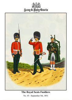 The Royal Scots Fusiliers 1892 by Richard Simkin British Army Uniform, British Uniforms, Military Art, Military History, Military Uniforms, Royal Guard, Scottish Tartans, Army & Navy, British History