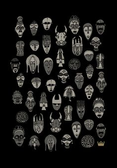 African Masks // T-Shirt Print - Pedro Kuperman African Masks, African Art, African Tribal Tattoos, Art Alevel, Ceramic Mask, Tiki Totem, Aboriginal Artwork, African Paintings, Statues