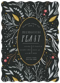 This Holiday Party invitation features hand illustrated elements for a festive and unique design.