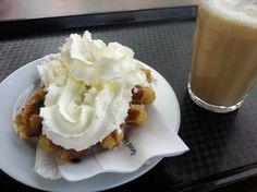 International Waffle Day is March but as far as I know, people are eating waffles every day. This is a Dutch waffle - covered in whipped cream. The Dutch love whipped cream, and use it lavishly on waffles, along with cherry syrup. International Waffle Day, Dutch Waffles, Cherry Syrup, Garden Bulbs, Tasty, Yummy Food, Spring Bulbs, Whipped Cream, Pudding