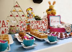"""Love using a """"house of cards"""" to serve food at an Alice In Wonderland Party!"""