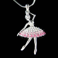 Swarovski crystal ballerina ballet dance girl dancer dancing pink swarovski crystal ballerina ballet dance girl dancer dancing pendant necklace mozeypictures Image collections