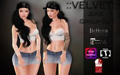 The Velvet June Gift. Come to this store to pick up the new June group gift, the tattoo you see on the image in black and white. System layers, Omega, Slink