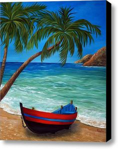 Tropical Beach Canvas Print By Katia Aho