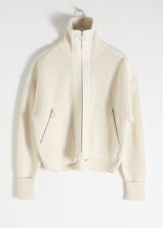 Wool Blend Zippered Turtleneck - Cream - Cardigans - & Other Stories Cute Outfits With Jeans, Cute Jeans, Troyer, Markova, Mode Plus, Cheap Hoodies, Fashion Story, Sweater Jacket, Wool Blend