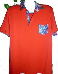 NICE Mondo Orange Blue Flower Designs Cotton Fancywork Men Polo Shirt Size 3XL  #Mondo #ButtonFront