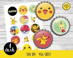 50% OFF SALE Pikachu bottlecap-Pokemon bottlecap-1 inch Bottlecap-Printable…