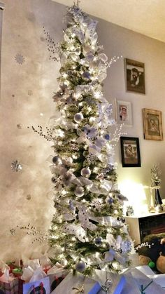 white silver skinny christmas tree - Pencil Christmas Tree Decorating Ideas