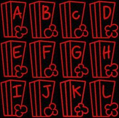 Popcorn Time Alphabet 4x4 hoop FORMATS: pes, hus, and jef #embroidery