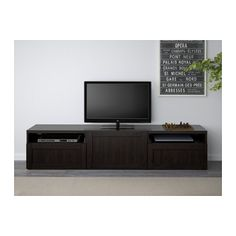 BESTÅ TV unit, Hanviken black-brown Hanviken black-brown 180x40x38 cm drawer runner, soft-closing