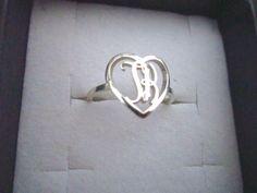 "Silver monogram in heart circle! this monogram is ""tk""!"