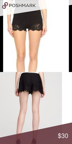 Free People Black Lace Shorts, NWT $68 These brand new shorts from Free People are adorable!  They feature a delicate floral stretchy lace and are fully lined.  Invisible side zipper for a flawless fit! Shorts