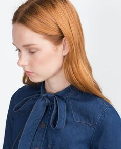 Image 3 of DENIM SHIRT WITH BOW from Zara