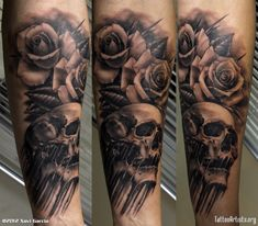 Skull and Roses Sleeve Tattoo Designs