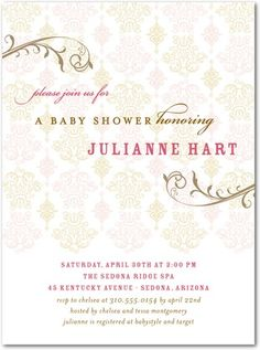 Baby Shower Invitations Swirling Charm - Front : Chenille
