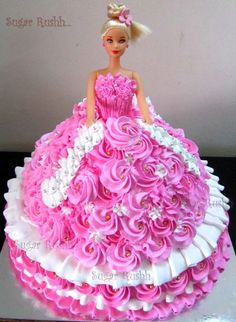 Massive Barbie - cake by vasu Barbie Doll Birthday Cake, Birthday Cake Girls, Happy Birthday, Barbie Party, Cake Decorating Designs, Cake Decorating Techniques, Barbie Cake Designs, Bolo Barbie, Dress Cake