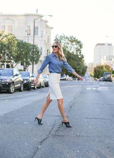 chambray shirt with pencil skirt