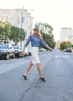 chambray shirt with pencil skirt