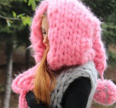 inspired by Little Red Riding Hood ( But I like Pink :) Super chunky knit Mohair Cardigan Cape & Cloak with The Hood hand knitted in a smoke and pet free environment. This super chunky knit Mohair Cardigan with The Hood is perfect for stylish women It is really soft and Uniqe..