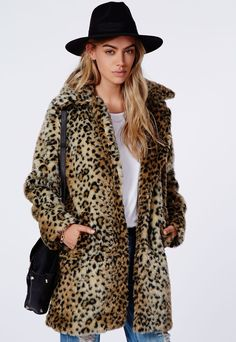 $40, Kylie Faux Fur Leopard Coat Brown by Missguided. Sold by Missguided. Click for more info: http://lookastic.com/women/shop_items/108427/redirect