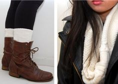 DIY leg warmers and infinity scarf from a sweater