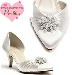 Ivory Dyeable Wedding Shoes. Pearl/Diamante Trim | Wedding shoes by Perdita's