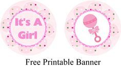 Free Printable Pink Baby Shower Banner and Cupcake Toppers