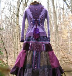 Patchwork corset style sweater COAT with lace by amberstudios