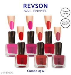 Nails  Premium Glossy Nail Polish(Pack of 6)  *Product Name* Revson Nail Polish  *Product  Type* Nail Polish  *Brand Name* Revson  *Capacity* 14 ml  *Shade* Multicolour  *Finish Type* Glossy  *Applicator * Brush  *Package Contains* It Has 6 Pack of Nail Polish  *Sizes Available* Free Size *   Catalog Rating: ★4 (6058)  Catalog Name: Nail Polish Revson Premium Glossy Nail Polish Combo Vol 1 CatalogID_125966 C51-SC1244 Code: 631-1039096-