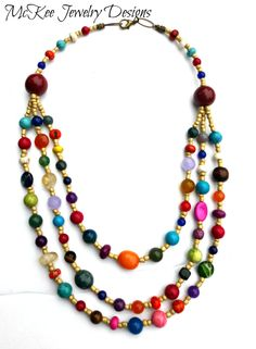 Multi strand and color stone with glass necklace.