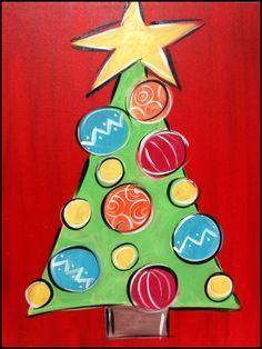 christmas tree painting ideas on canvas - Yahoo Image Search Results Christmas Tree Canvas, Christmas Paintings On Canvas, Christmas Tree Painting, Noel Christmas, Christmas Projects, Simple Christmas, Holiday Crafts, Kids Paintings On Canvas, Christmas Decor