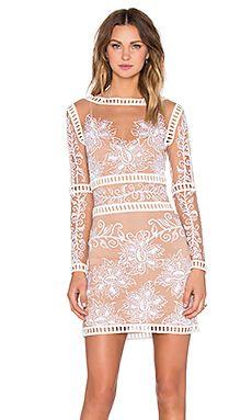 For Love & Lemons Desert Nights Mini Dress in White & Nude