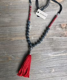 "Long Beaded Tassel Necklace w/ Black Agate, Red Czech Glass, Silver, Leather 30"" #MinFavorit #Beaded"