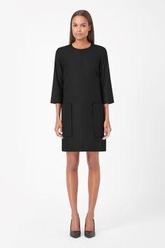 Raised pocket wool dress