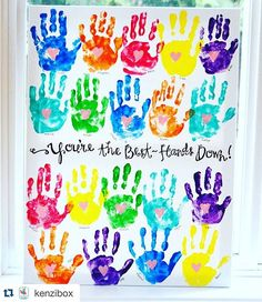 How awesome is this handprint art! It would make a great end of year gift for a teacher, I'm going to have to suggest it to our class mums! Teacher Gifts From Class, Teacher Birthday Gifts, Best Teacher Gifts, Teacher Cards, Class Teacher, Teacher Presents, Volunteer Gifts, Farewell Gifts, Handprint Art