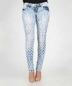 Loving this Blue Faded Pierced Jeans on #zulily! #zulilyfinds