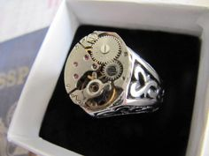 Steampunk, Mens Ring, Mens Rings, Steampunk Jewerly, Steampunk Ring, Man, Stainless Steel, Watch, Steampunk Jewelry, Men, Wide Silver Band by LuckySteamPunk on Etsy https://www.etsy.com/listing/187182438/steampunk-mens-ring-mens-rings-steampunk