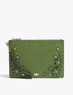 MICHAEL MICHAEL KORS Floral embellished leather zipped pouch