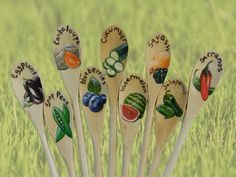 Spring Garden Marker Wood Spoons- Custom Painted on Etsy, $5.00