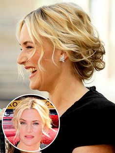 Love Her Hair! | KATE WINSLET | Center part. Beachy waves. Loose tendrils. Pinned at the back. Is Kate's do revolutionary? No. But is it classic, chic and ultra-flattering? Yes, yes and a thousand times yes.